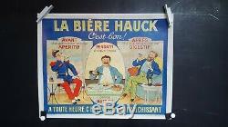 Affiche Ancienne Biere Hauck Meuse Rare 51x40cm