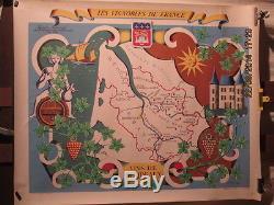 Affiche Ancienne Carte Animee Vins De Bordeaux