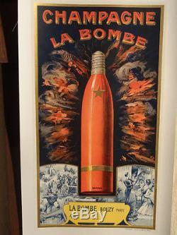 Affiche Ancienne Champagne La Bombe