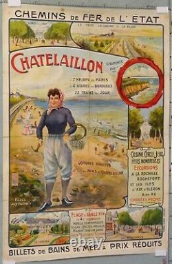 Affiche Ancienne Chemin De Fer De L'etat Chatelaillon Circa 1900