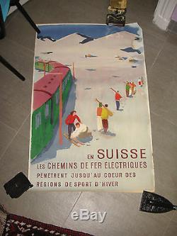 Affiche Ancienne Chemins de Fer Electriques en Suisse de Jegerlehner