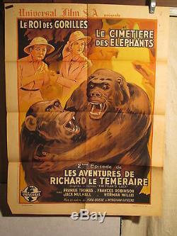 Affiche Ancienne Cinema Aventures Gorilles 1930 Env