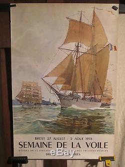 Affiche Ancienne Course Voile Brest Bateaux