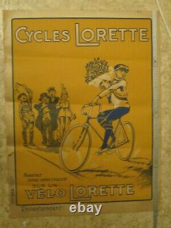 Affiche Ancienne Cycles Lorette. Vélo Lorette
