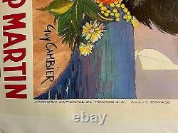 Affiche Ancienne Entoilée ROQUEBRUNE-CAP MARTIN par Guy CAMBIER 1950 / 063X098