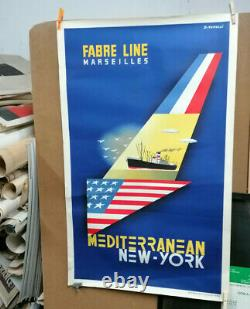 Affiche Ancienne Fabre Line Marseille New York J Tonelli Sirven Toulouse