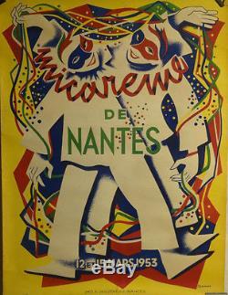 Affiche Ancienne Fetes MI Careme Nantes Couple Arlequins Deco