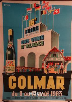 Affiche Ancienne Foire Vins D'alsace Colmar