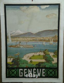 Affiche Ancienne Geneve J De La Neziere Suisse Switzerland Schweiz