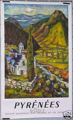 Affiche Ancienne Gerard Calvet 1959 Sncf Pyrenees