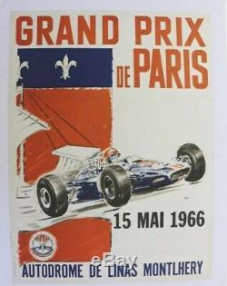 Affiche Ancienne Grand Prix France Circuit Linas Autodrome Montlhery 16 Mai 1966