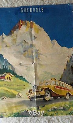 Affiche Ancienne Grenoble Autocars Ricou
