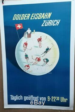 Affiche Ancienne Hockey Zurich Suisse Switzerland Schweiz F Barberis