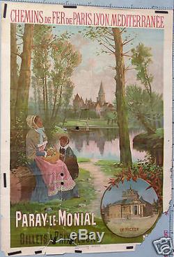 Affiche Ancienne Hugo D Alesi Parai Le Monial Le Hieron Chemin De Fer Plm
