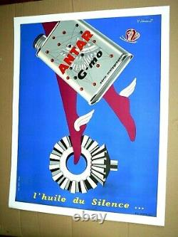 Affiche Ancienne Huile Automobile ANTAR Villemot Auto Oil Bidon Poster Car Truck