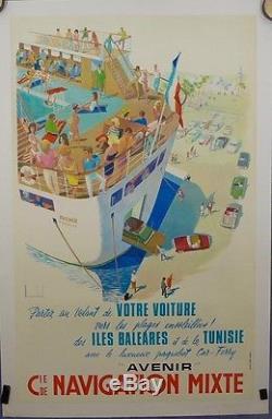 Affiche Ancienne Lithographique Cie Maritime Navigation Mixte Baléares Tunisie