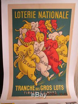 Affiche Ancienne Loterie Nationale Elephants Marrante