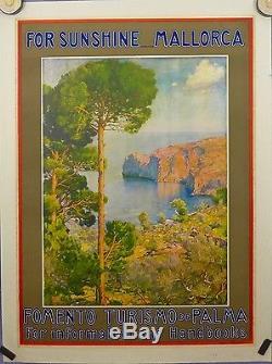 Affiche Ancienne MALLORCA Baleares par Erwinn Hubert entoilee très bon état
