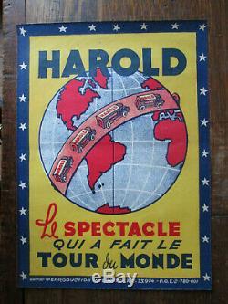 Affiche Ancienne Magie Magicien Prestidigitateur Harold Tour du Monde Circa 1930