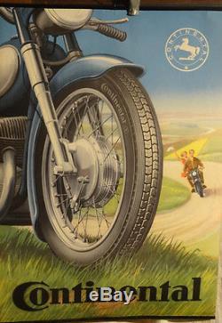 Affiche Ancienne Moto Pneu Continental
