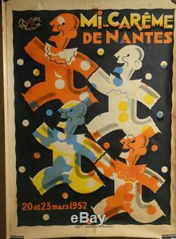 Affiche Ancienne Nantes Mi-careme Fetes Deco Couleurs
