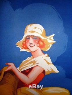 Affiche Ancienne Old Poster Bordeaux Agriculture Phosphates Jeune Femme
