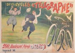 Affiche Ancienne Old Poster Cycles Telegraphe Colombes Amoureux Lesna Et Kühling