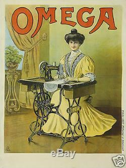 Affiche Ancienne Omega Machines A Coudre Circa 1900