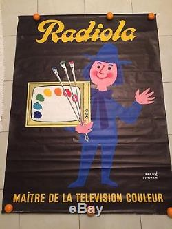 Affiche Ancienne Original D'époque Hervé Morvan Publicité Radiola