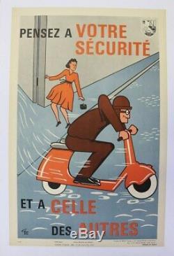 Affiche Ancienne Originale 1962 Scooter Vespa Lambretta Manhurin Terrot Peugeot