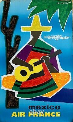 Affiche Ancienne Originale AIR FRANCE MEXICO par Guy Georget 1963