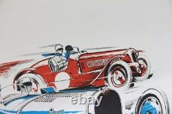 Affiche Ancienne Originale Automobile Bugatti 35 37 51 Delahaye 135 Lion's 1983