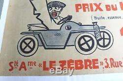 Affiche Ancienne Originale Automobile Le Zebre Suresne Puteaux Bizet