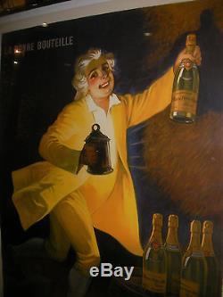 Affiche Ancienne Originale Auzolle Marcellin Champagne Masse