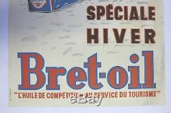 Affiche Ancienne Originale Bidon Huile Bret Oil Bretocyl Pompe Essence 1955