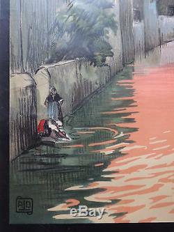 Affiche Ancienne Originale Chemin de Fer d'Alsace de Lorraine Luxembourg Sig ALO