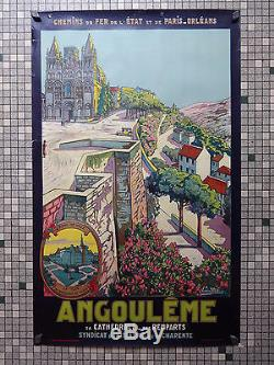 Affiche Ancienne Originale Chemin de Fer de l'Etat Angouleme Signée E. Vavasseur