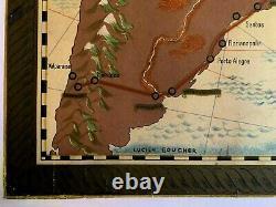 Affiche Ancienne Originale ENTOILÉE Lucien BOUCHET 1959 Planisphère AIR FRANCE
