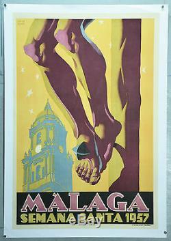 Affiche Ancienne Originale, Entoilée, Malaga, Signée Louis Bono, 1957
