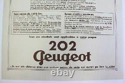 Affiche Ancienne Originale Garage Concession Peugeot 202 1938-1949 (302 402)