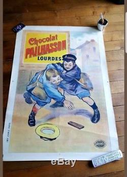 Affiche Ancienne Originale Publicitaire Chocolat Pailhasson Lourdes Pyrénées