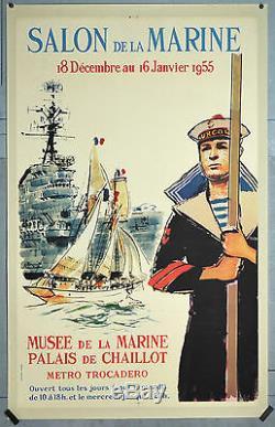 Affiche Ancienne Originale Salon De La Marine Brenet Années 60