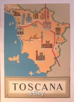 Affiche Ancienne Originale Toscane Toscana Italy Italie Pisa Sienna Firenze