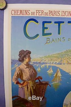 Affiche Ancienne PLM 1931 CETTE les bains de Mer par T Roussy, entoilée