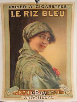 Affiche Ancienne Papier A Cigarette Lacroix Angouleme Femme