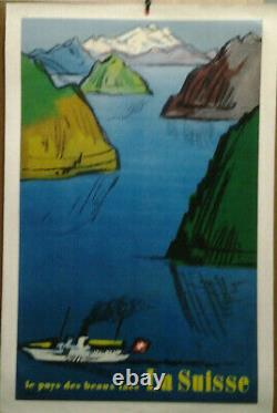 Affiche Ancienne Pays Des Beaux Lacs Svizzera Suisse Suiza Switzerland Schweiz
