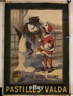 Affiche Ancienne Pharmacie Pastilles Valda Publicitaire Vintage