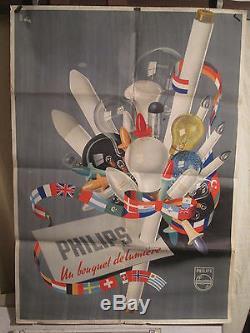 Affiche Ancienne Philips Bouquet De Lampes Superbe Rare