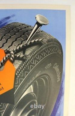 Affiche Ancienne Pneu Kleber Colombes Goodrich Michelin Continental 1950