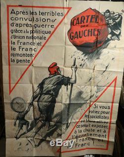 Affiche Ancienne Politique Cartel Des Gauches Annees 25-30